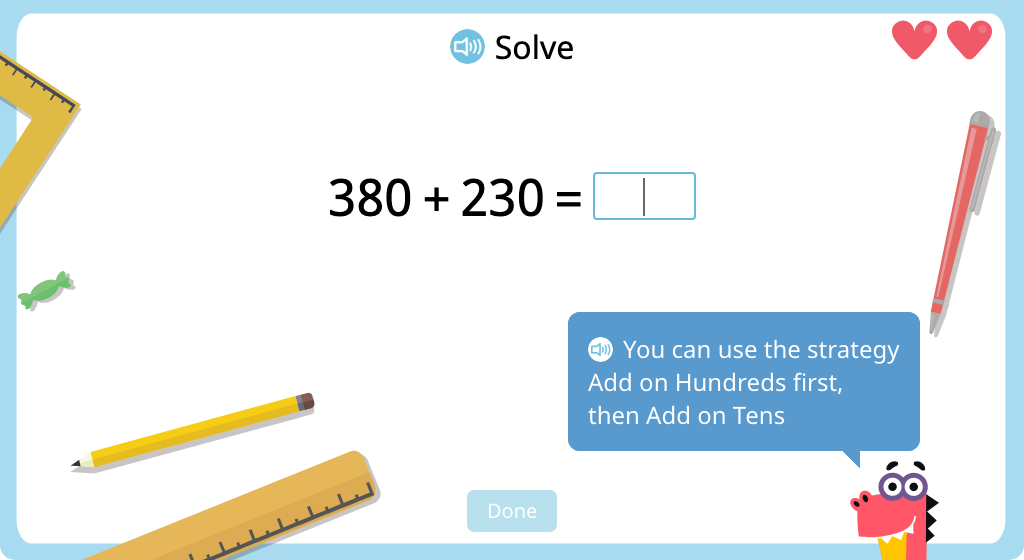 Add 3-digit numbers with exchanging using mental math