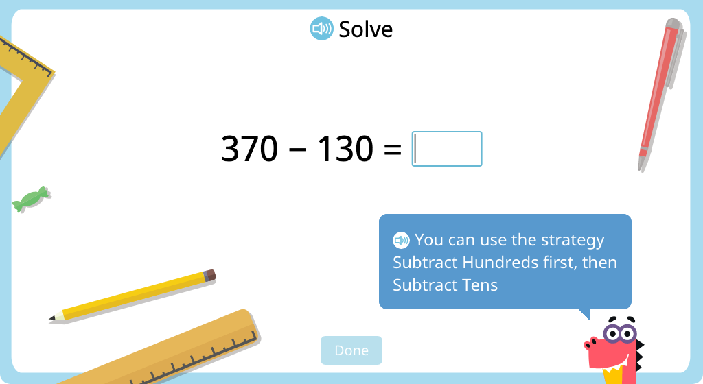 Subtract 3-digit numbers using mental math