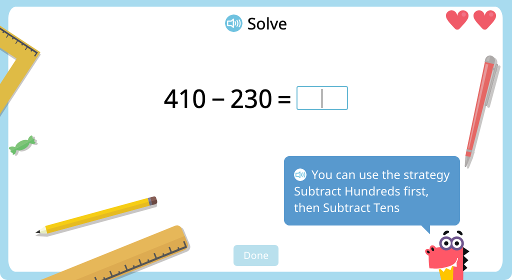 Subtract 3-digit numbers with exchanging using mental math