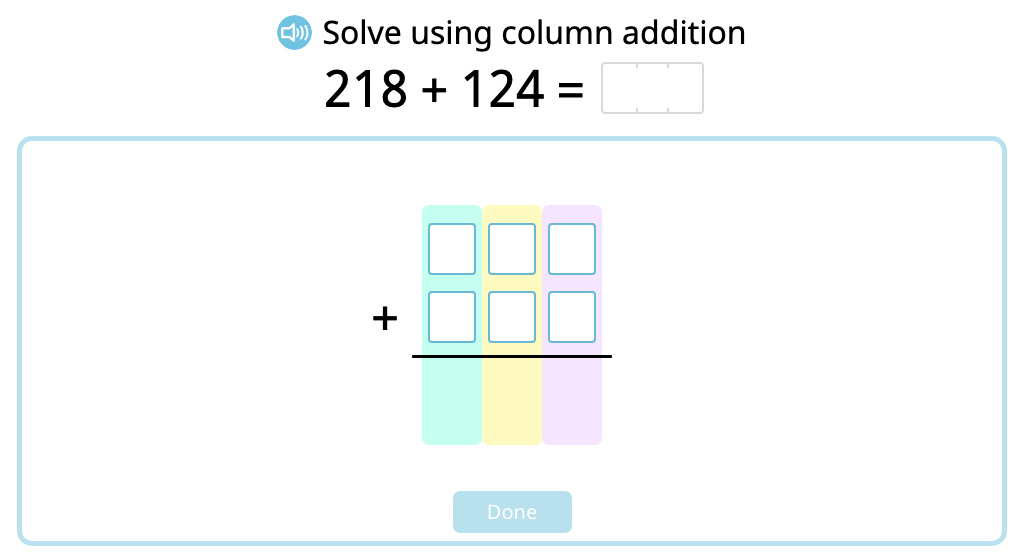 Solve 3-digit column addition with exchanging ones using a disk model