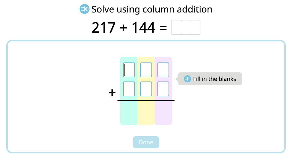Solve 3-digit column addition with exchanging ones or tens