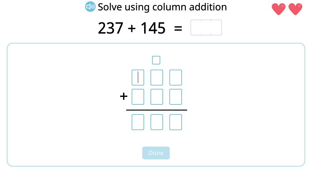 Solve 3-digit column addition with multiple exchanges (Level 2)