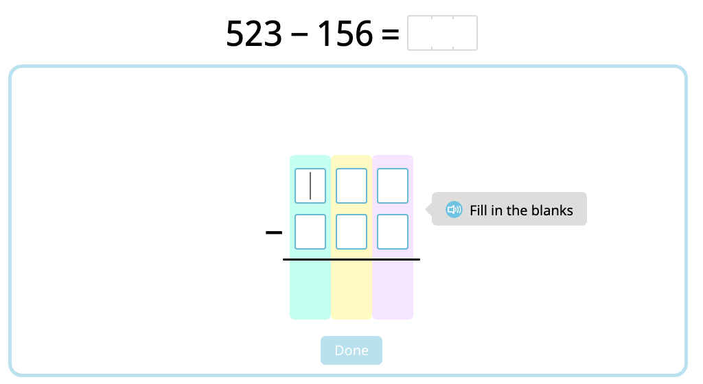 Solve 3-digit column subtraction with multiple exchanges