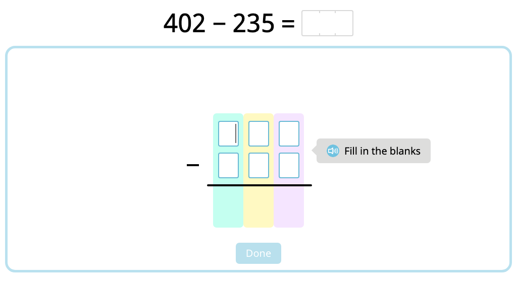 Solve 3-digit column subtraction with 2-step exchanges with and without using a disk model