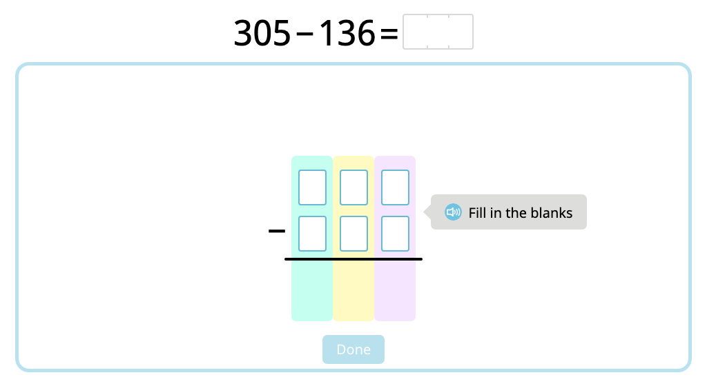 Solve 3-digit column subtraction with 2-step exchanges