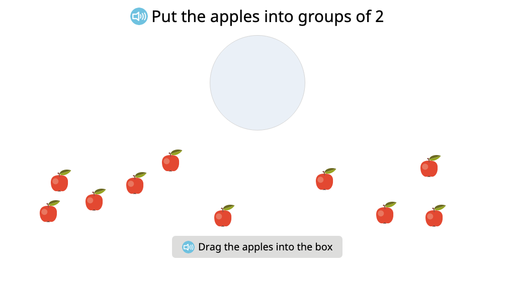 Create equal groups by putting objects into groups of a given size