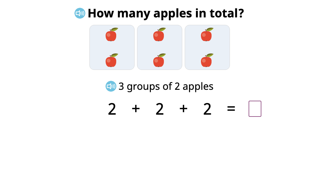 Determine the total number of objects in equal groups