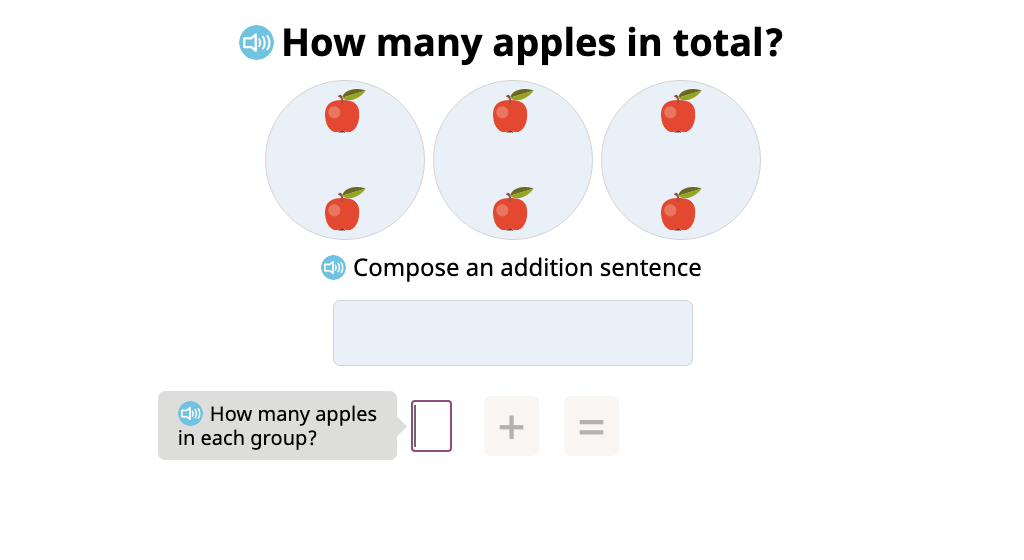 Compose a repeated addition sentence to represent equal groups and determine the total