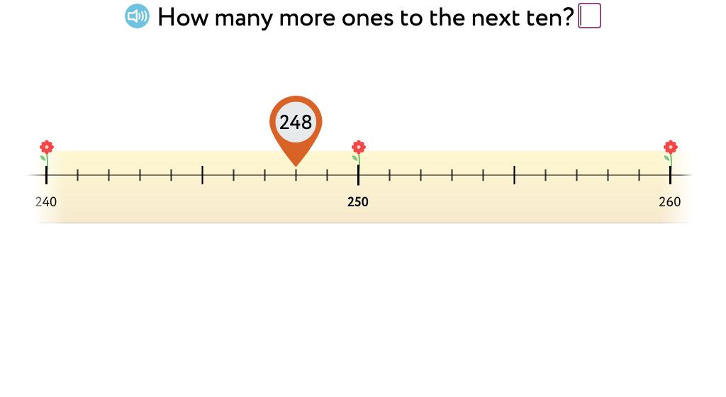Determine how many more ones, tens, or hundreds to reach the next ten, hundred, or thousand using a number line (Level 2)