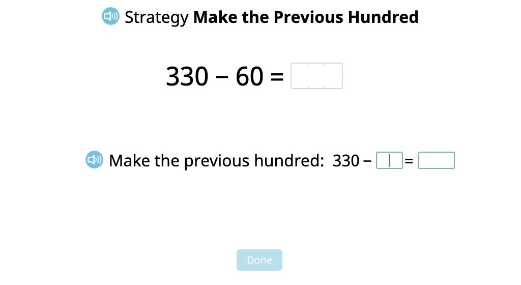 """Subtract a 2-digit number from a 3-digit number using the """"Make the Previous Hundred"""" strategy (Part 2)"""
