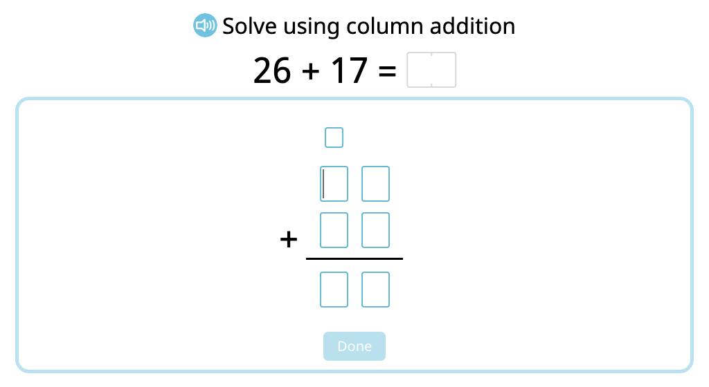 Solve 2-digit column addition with and without exchanging (Level 3)