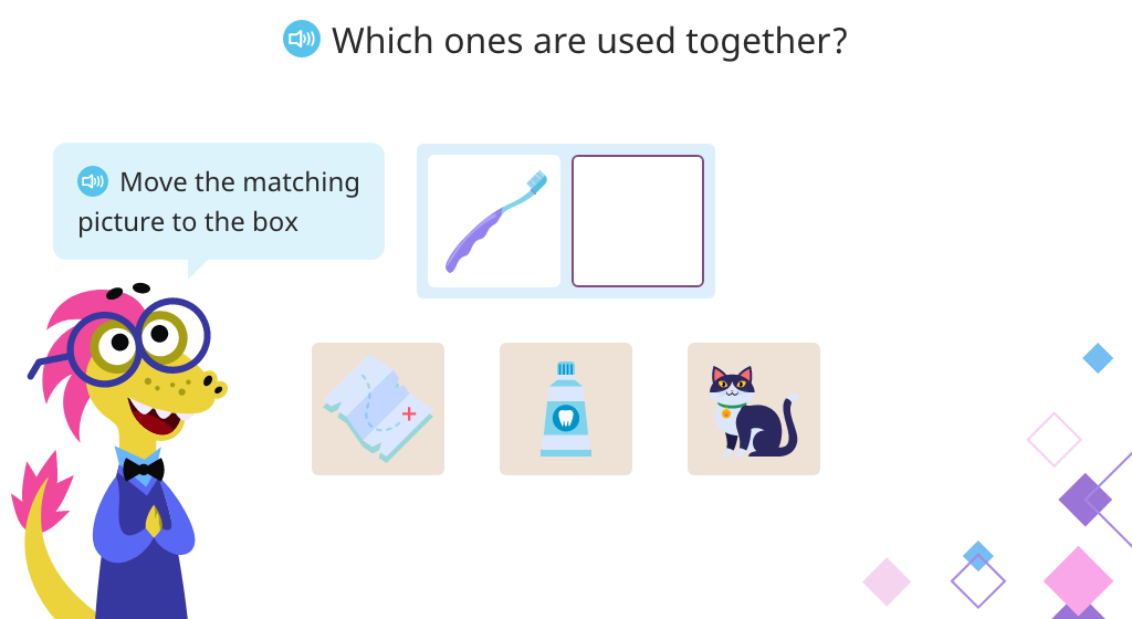 Identify items that belong together based on their use