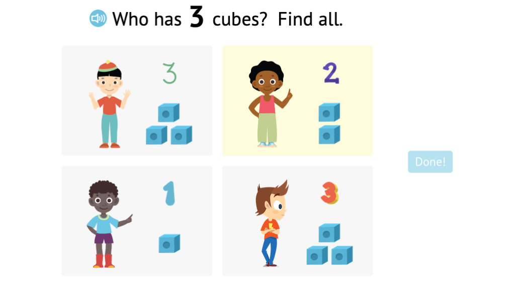 Match numbered and non-numbered sets of cubes to a number 1-3