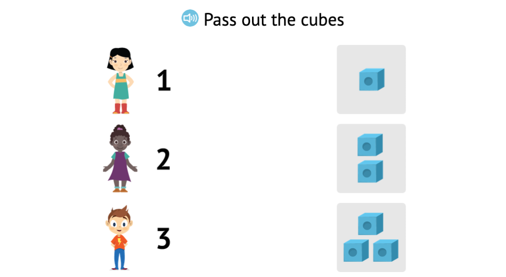 Match sets of cubes to numbers 1-3
