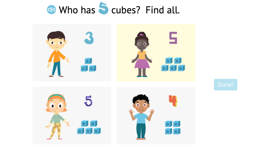 Match numbered and non-numbered sets of cubes to number 4 or 5