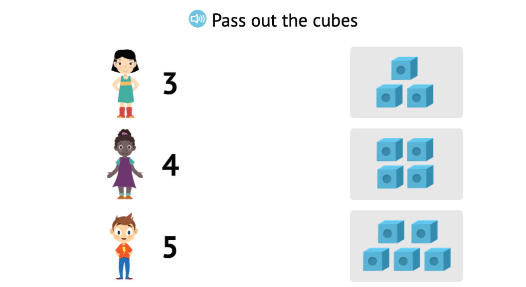 Match sets of cubes to numbers 1-5