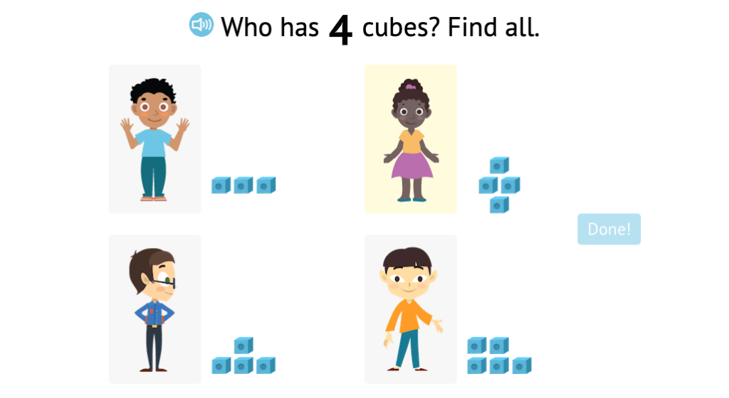 Identify numbered sets of cubes that match a given total up to 5