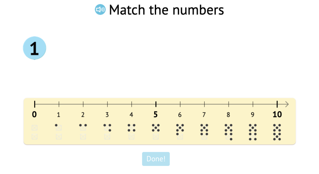 Match numbers 1-5 to their positions on a number line labeled with numbers and dot patterns