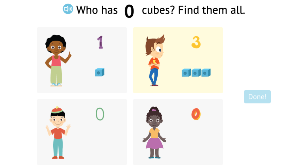 Identify a set of scattered objects that matches a given total up to 5