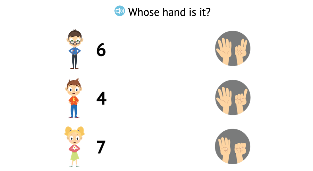 Match numbers 0-7 to arrangements of fingers displayed on two hands