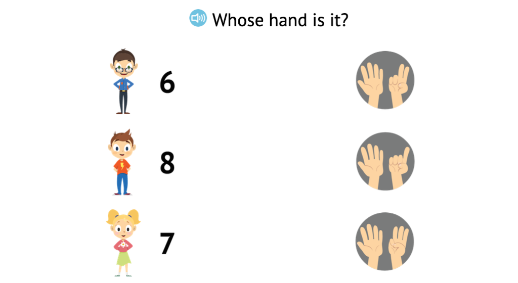 Match numbers 0-8 to arrangements of fingers displayed on two hands