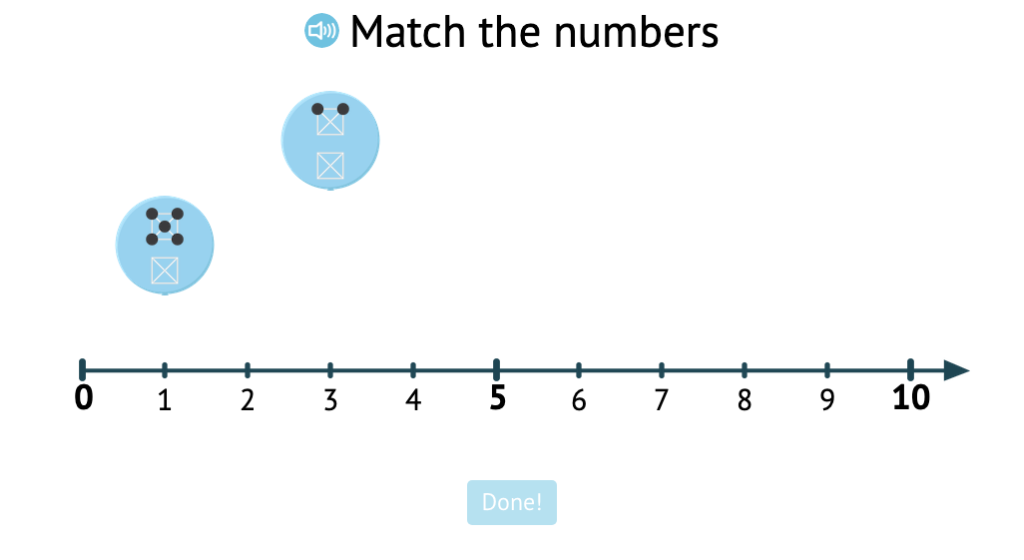 Match patterns of dots to their numbered position on a number line