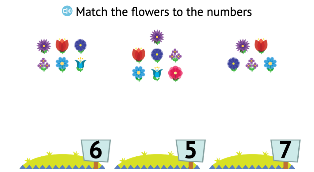 Match sets of non-identical objects to numbers up to 9
