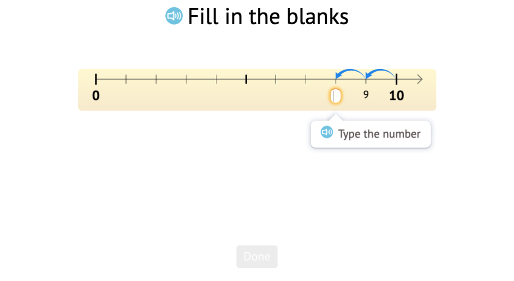 Continue a count sequence on a number line from a given point counting back