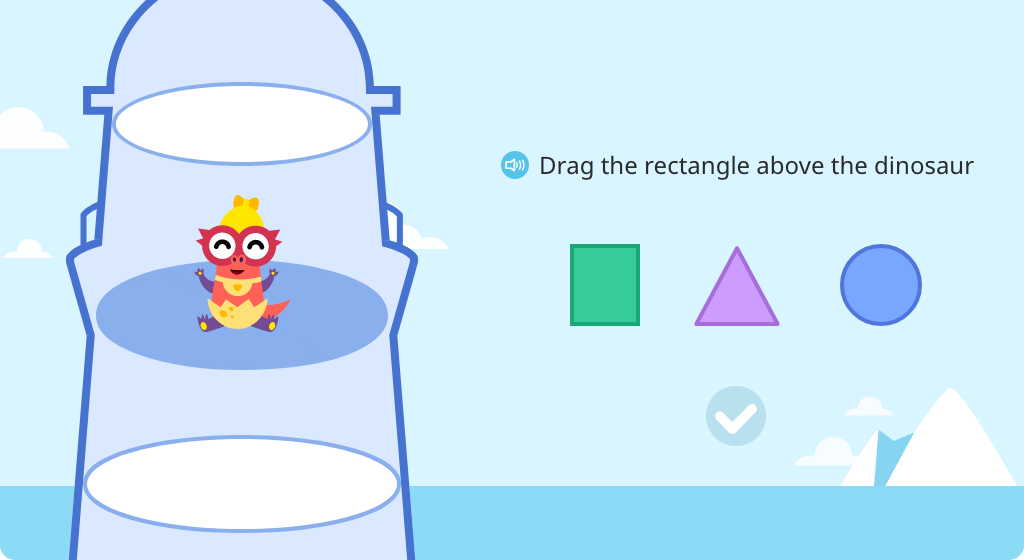 Identify 2D shapes and move them into positions above, below, in front of, and behind