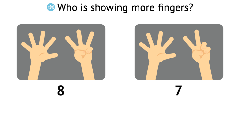 Identify more when comparing two numbers