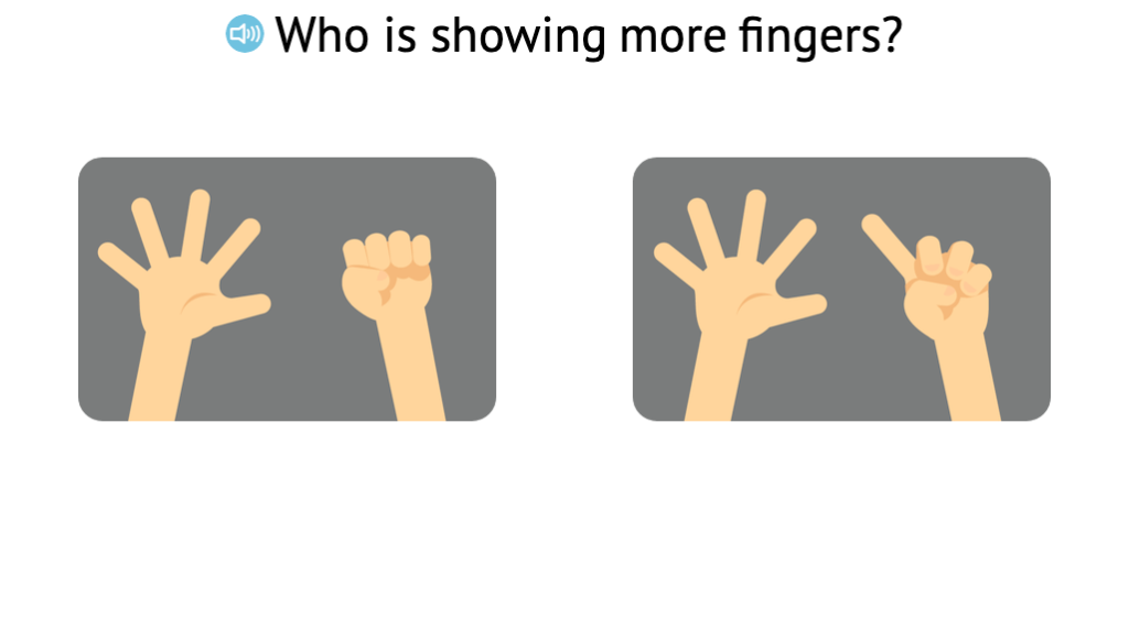 Identify more when comparing two sets of fingers displayed on two hands