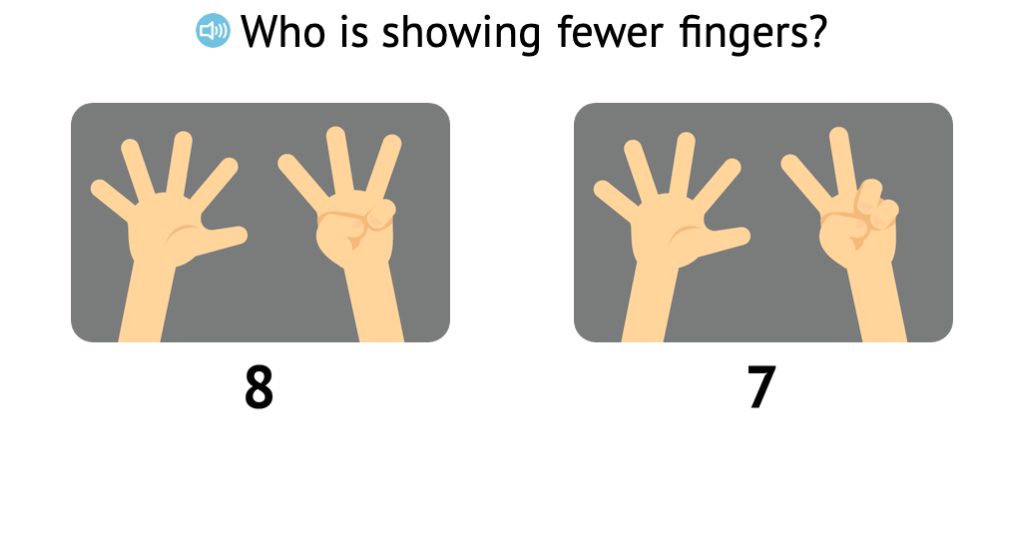 Identify fewer when comparing two numbers