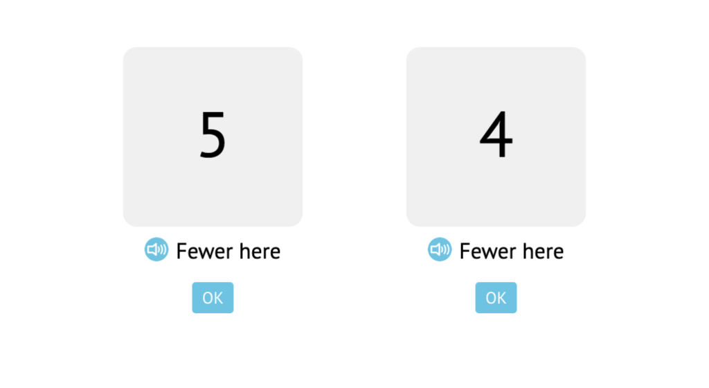 Compare numbers based on more/fewer