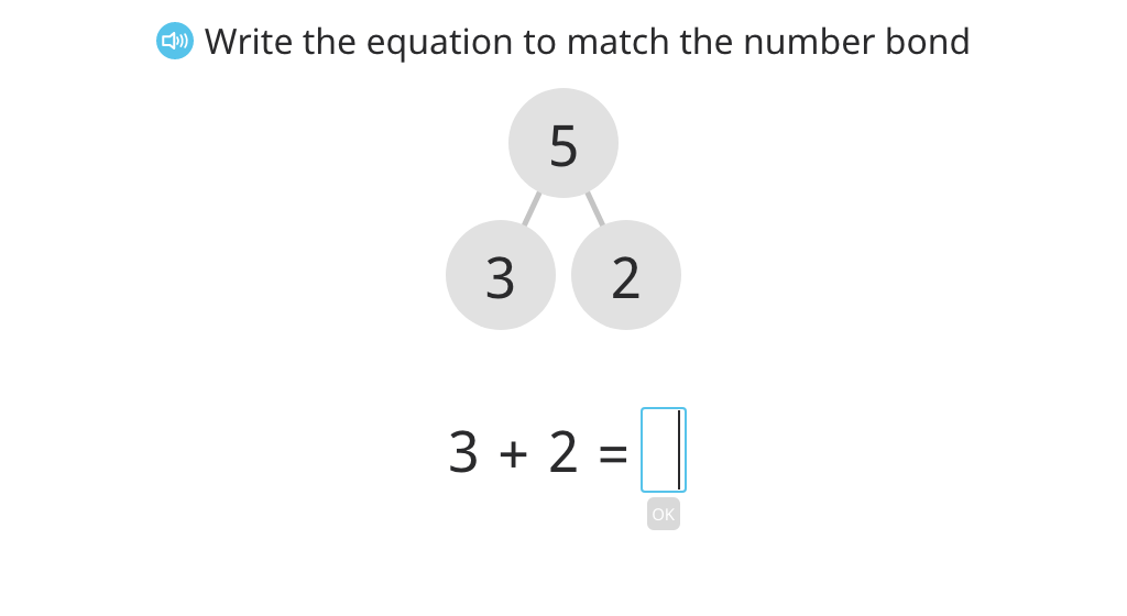 Write an equation to match a number bond (total of 3, 4, or 5)