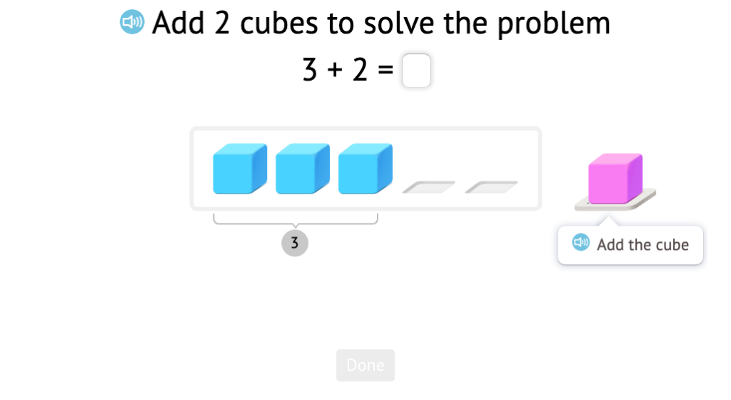 Solve addition equations to 5 based on a model of base-10 blocks