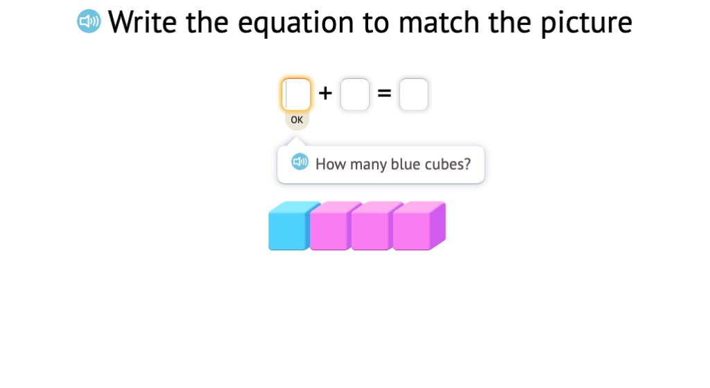 Determine a missing addends in equations with a sum of 4