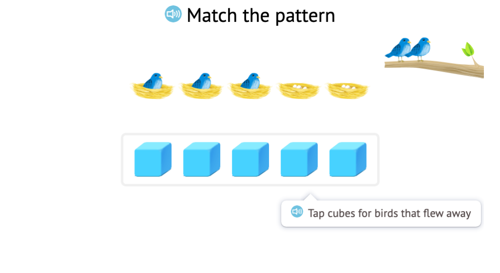Use base-10 blocks to represent subtraction scenarios with objects within 5 and identify base-10 block patterns that represent subtraction scenarios with objects within 5