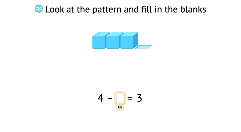 Complete +/- equations within 5 based on a model of base-10 blocks