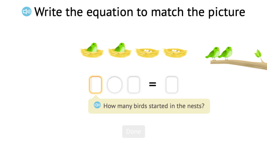 Record subtraction scenarios with objects within 5 as equations with a difference of 0