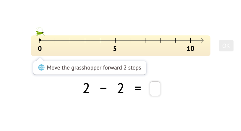 Record subtraction scenarios on a number line within 5 as equations with a difference of 0