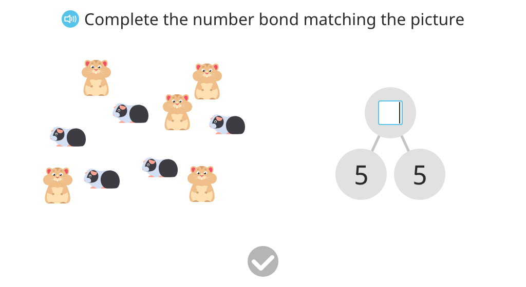 Record a number bond based on a scenario with 10 real objects (unaligned)