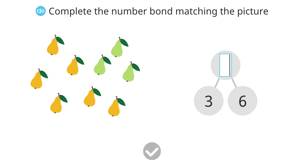 Record a number bond based on a scenario with 9 real objects (unaligned)