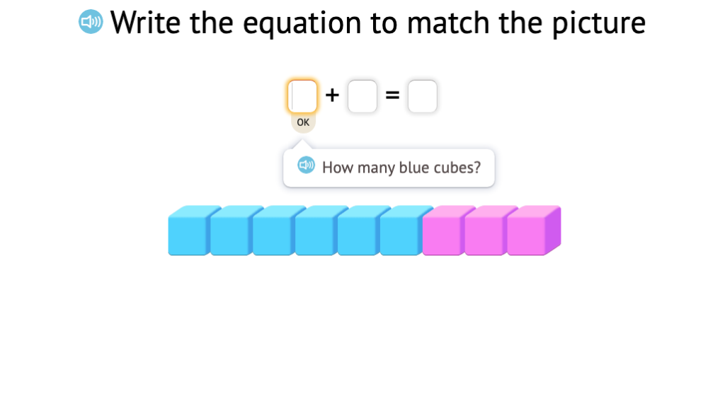 Record an equation based on a model of base-10 blocks (total of 9)