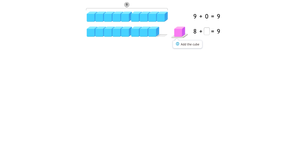 Complete addition equations to 9 based on a model of base-10 blocks