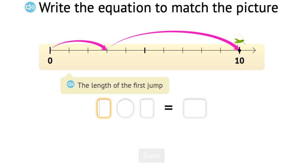 Record a number line addition scenario to 10 as and equation and solve a related subtraction equation
