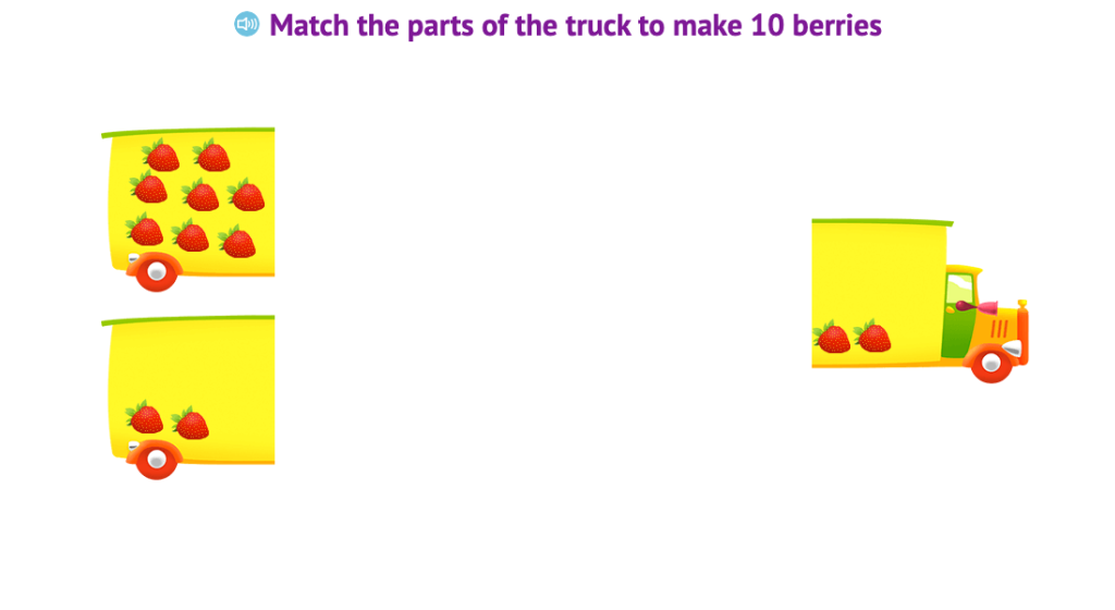 Match two sets of uniform objects to make a total of 10