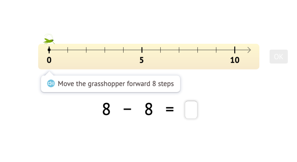 Record subtraction scenarios on a number line within 10 as equations with a difference of 0