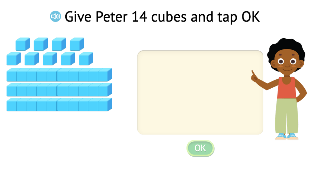 Represent numbers in the second ten using a rod and cubes