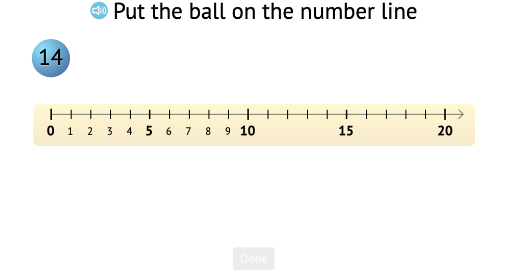 Position numbers to 19 on a number line