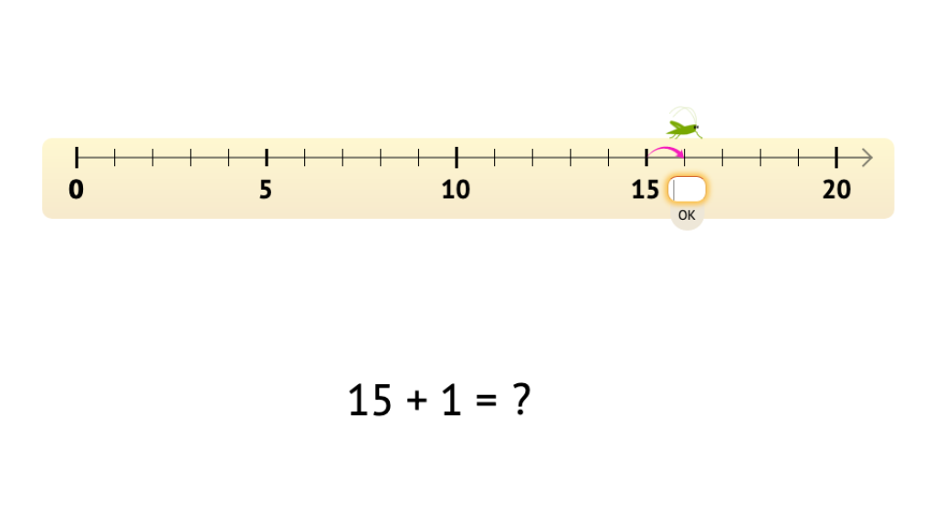Add 1 to or subtract 1 from numbers 11-20 with and without a number line model